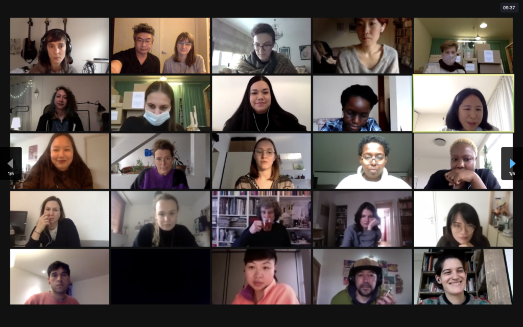Image description: a screenshot of the Assembly videoconference with a large number of people behind their screens.