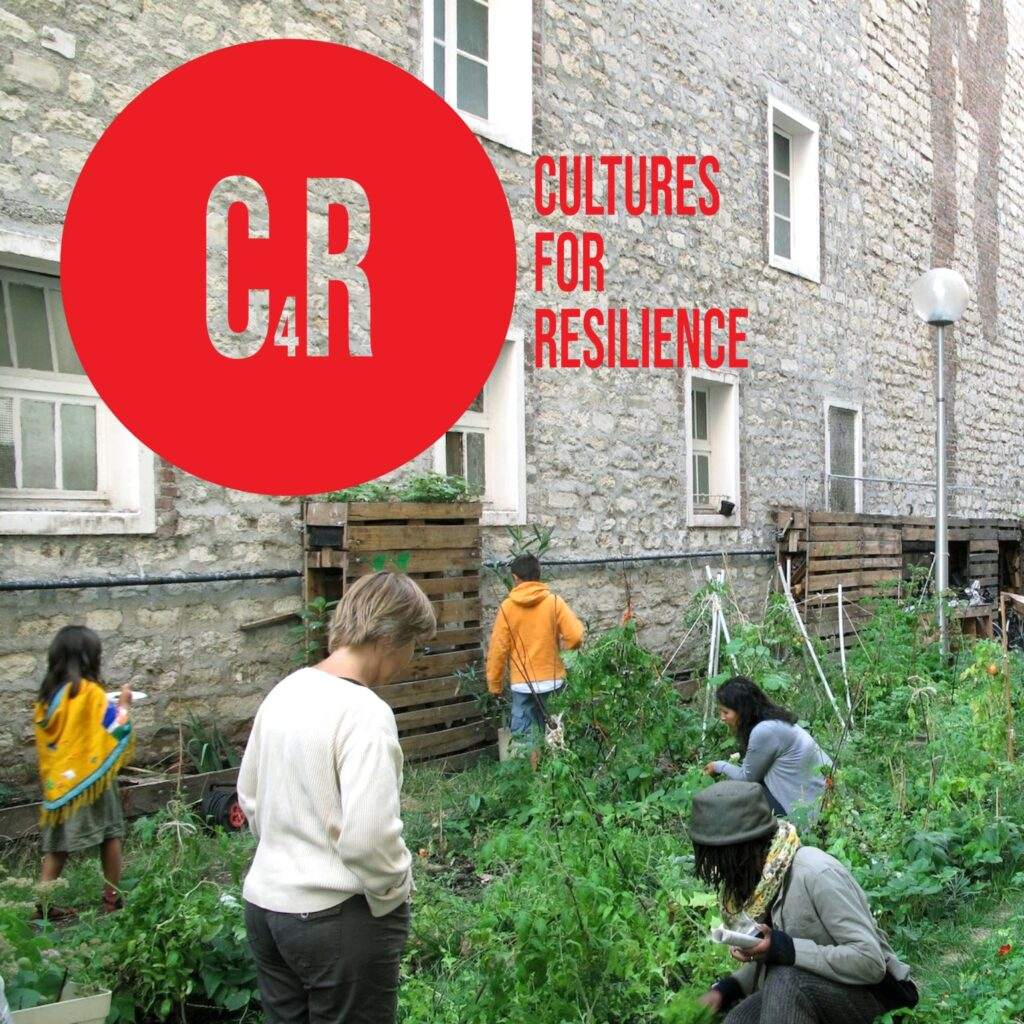 Image description: a collage where several people are active in an urban agriculture garden, and various crops, sheds, a streetlight and a building wall feature around them, with the C4R logo layered on top. Credit: R-Urban Civic Hubs, photo; C4R logo, design, 2021.
