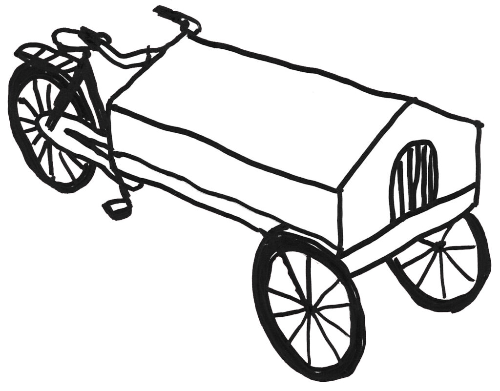 Image description: drawing of the travelling museum bicycle. Credit: Merel Zwarts, 2020.