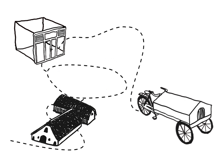 Image description: drawings of the Terwijde depot, Terwidje farmhouse and travelling bike connected by a dotted line. Credit: Merel Zwarts 2020.