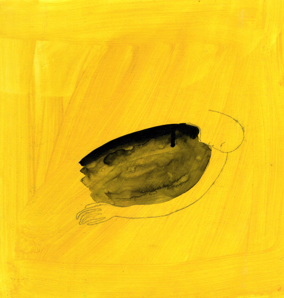 """Image description: A warm yellow background with visible brushstrokes, with a small pencil drawn figure with a peaceful looking facial expression and one visible arm wrapped around an oval shape, drawn in black ink which is more saturated at the top than the bottom. This drawing is entitled """"Wrapping Your Arms Around the Dark"""" and is made by artist Jumana Emil Abboud."""