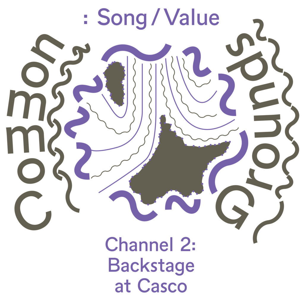 Image description: rhythmic and nebulous graphic elements feature across the visual identity for Common Grounds: Song / Value.