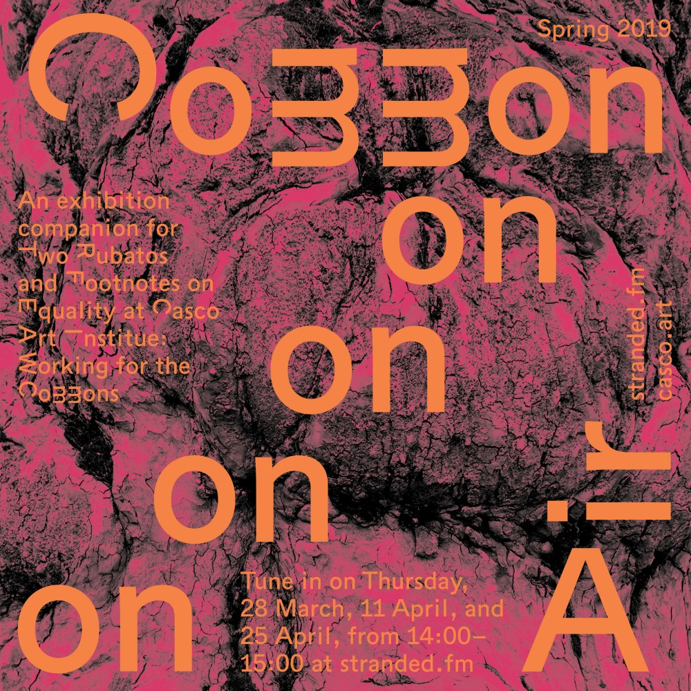 Image description: Common Air graphic identity created by Zuzana Kostelanska including text for the airing dates on Stranded FM overlayed onto an abstract image of the old tree in Casco's courtyard.