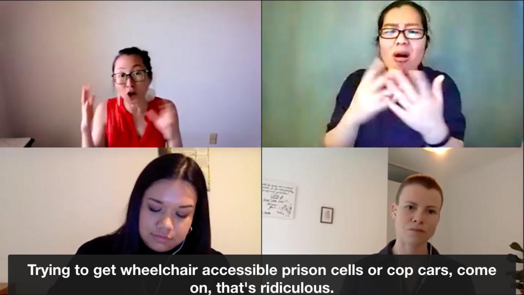 Image description: Screenshot of the Zoom talk including Mia Mingus, Deanna Dieckman, Leana Boven, and Staci Bu Shea during Mingus's presentation. The caption reads
